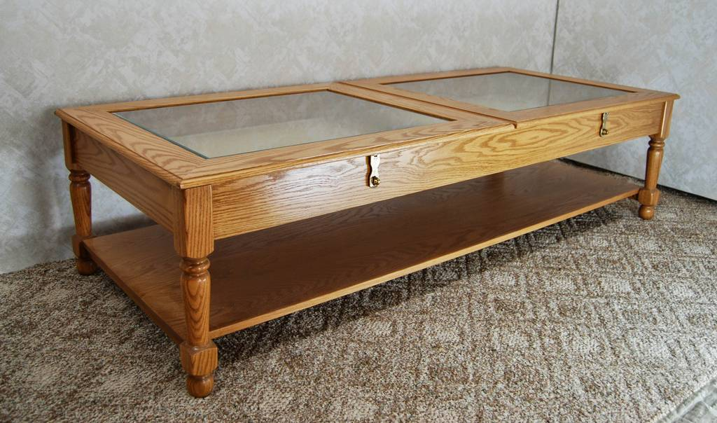 Display coffee table de vries woodcrafters for Display coffee table